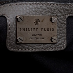 Philipp Plein Grey Leather Pretender Satchel