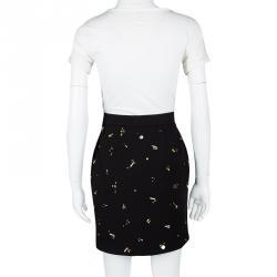 Philosophy di Alberta Ferretti Black Knit Embellished Skirt M