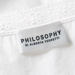 Philosophy di Alberta Ferretti White Eyelet Embroidered Cotton Long Sleeve Dress M