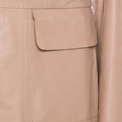 Philosophy Beige Leather Structured Power Shoulder Serafini Blazer M