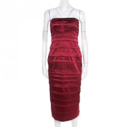 17bf9a7a5b142 Philosophy di Alberta Ferretti Red Satin Pleated Strapless Dress M