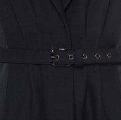 Philosophy Black Wool and Satin Padded Shoulder Detail Sleeveless Long Vest M