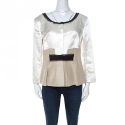 Philosophy di Alberta Ferretti White and Beige Silk and Linen Lace Trimmed Jacket L