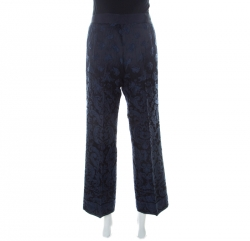 Philosophy di Alberta Ferretti Navy Blue & Black Jacquard Trousers L
