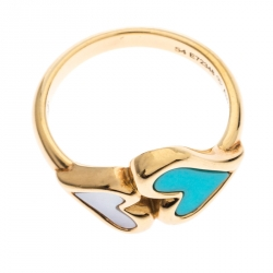 Piaget Turquoise Mother of Pearl Heart 18k Yellow Gold  Ring