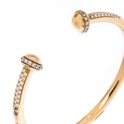 Piaget Possession Diamond 18k Rose Gold Open Bangle Bracelet 15