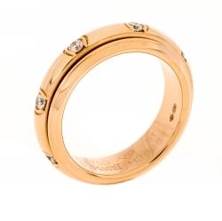 Piaget Possession Diamond 18K Rose Gold Spinning Band Ring Size 51
