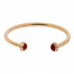 Piaget Possession 18K Rose Gold Diamond Paved Carnelian Open Cuff Bracelet 16 cm