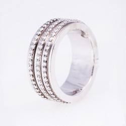 Piaget Three Diamond Sliding Rows Band Ring Size 53