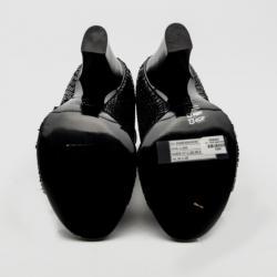Giuseppe Zanotti For Pierre Balmain Black Python Cut-out Sandals Size 36