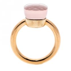 Pomellato Nudo Pink Quartz 18k Rose Gold Ring Size 50