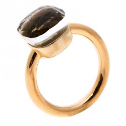 Pomellato Nudo White Topaz 18k Rose Gold Ring Size 50