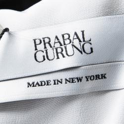 Prabal Gurung Monochrome Draped One Shoulder Gown L