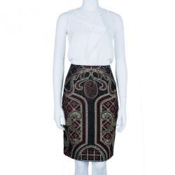 Prabal Gurung Metallic Detail Embroidery Pencil Skirt L