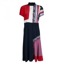 Prabal Gurung Colorblock Printed Silk Button Front Midi Dress M