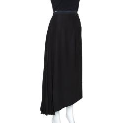 Prada Black Crepe Pleated Asymmetric Midi Skirt L
