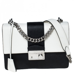 Prada White/Black Saffiano Leather Pattina Bianco Shoulder Bag