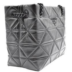 Prada Black Leather Quilted Tote Bag