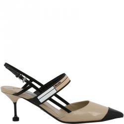 Prada Two Tone Leather Pointed Toe Slingback Sandals Size 38