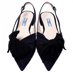 Prada Navy Blue Suede Leather Bow Slingback Flats Size 39