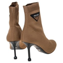 Prada Brown Stretch Fabric Ankle Booties Size 37.5