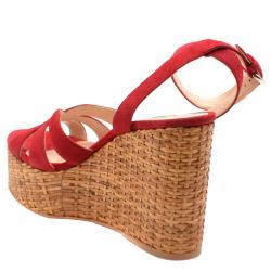 Prada Red Suede Wedge Platform Sandals Size EU 36