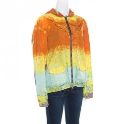 455c3b49 Prada Sport Multicolor Acid Effect Zip Front Belted Hooded Jacket L