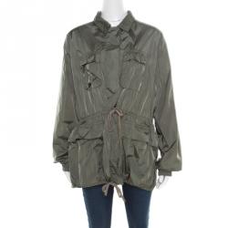 6f1c0f24 Prada Sport Olive Green Nylon Gathered Tie Detail Windcheater Jacket L