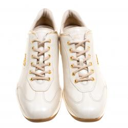 Prada Sport Cream Leather Lace Up Sneakers Size 40