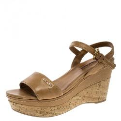 e616c1d8f75b Prada Sport Brown Leather Ankle Strap Cork Wedge Platform Sandals Size 38