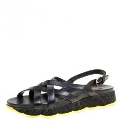 8422cbafc76b7f Prada Sport Black Leather Cross Strap Flat Sandals Size 39.5