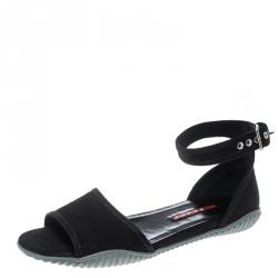 a8ad6fb4 Prada Sport Black Canvas Donna Gabardine Ankle Strap Sandals Size 39.5