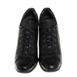 40f03367 Prada Sport Black Leather Wedge Sneakers Size 39