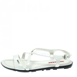 04e251e4 Prada Sport White Patent Leather Flat Sandals Size 35.5