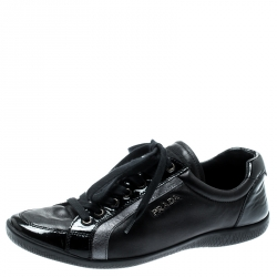 889b0822 Prada Sport Black Leather Lace Up Sneakers Size 37