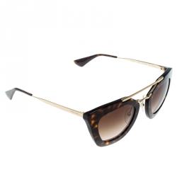 db92393e6db27 Prada Havana Brown  Brown Gradient SPR09Q Cinema Polygonal Sunglasses