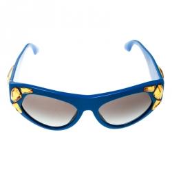 fac775f87843 Prada Blue/Grey Gradient SPR 21Q Yellow Crystal Embellished Cat Eye  Sunglasses