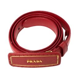 Prada Red Saffiano Leather Logo Plaque Slim Belt 80CM