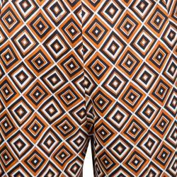 Prada Multicolor Diamond Print Silk And Wool Blend Cropped Pants M