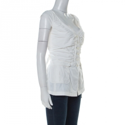 Prada Off White Cotton Ruched Front Cap Sleeve Blouse L