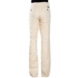 Prada Cream Cotton Blend Flared Trousers L