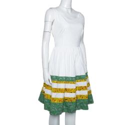 Prada White Cotton Striped Jacquard Trim Detail Flared Sleeveless Dress M