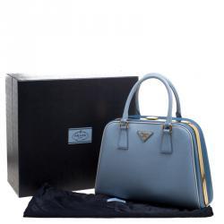 Prada Two Tone Blue Saffiano Leather Frame Top Handle Bag
