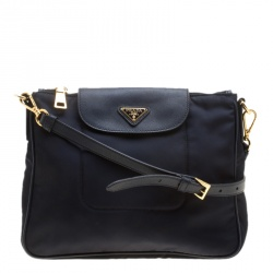 Prada Dark Blue Tessuto Saffiano Crossbody Bag