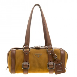 f3588a372d Prada dark Yellow Brown Suede and Leather Satchel