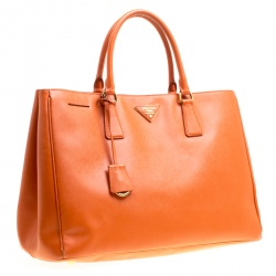 Prada Orange Saffiano Lux Leather Large Gardener's Tote