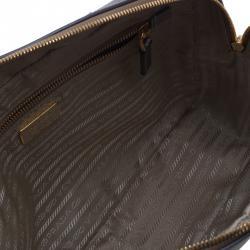 Prada Metallic Siver Saffiano Zip Around Lux Bag