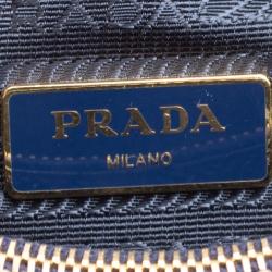 Prada Royal Blue Saffiano Vernic Patent Leather Small Promenade Top Handle Shoulder Bag