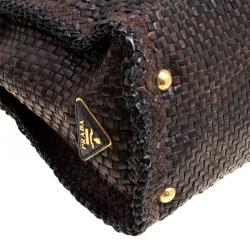 Prada Brown Woven Leather Madras Top Handle Bag