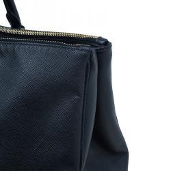 Prada Black Saffiano Lux Leather Double Zip Tote